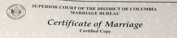 Certified Copy DC Marriage License