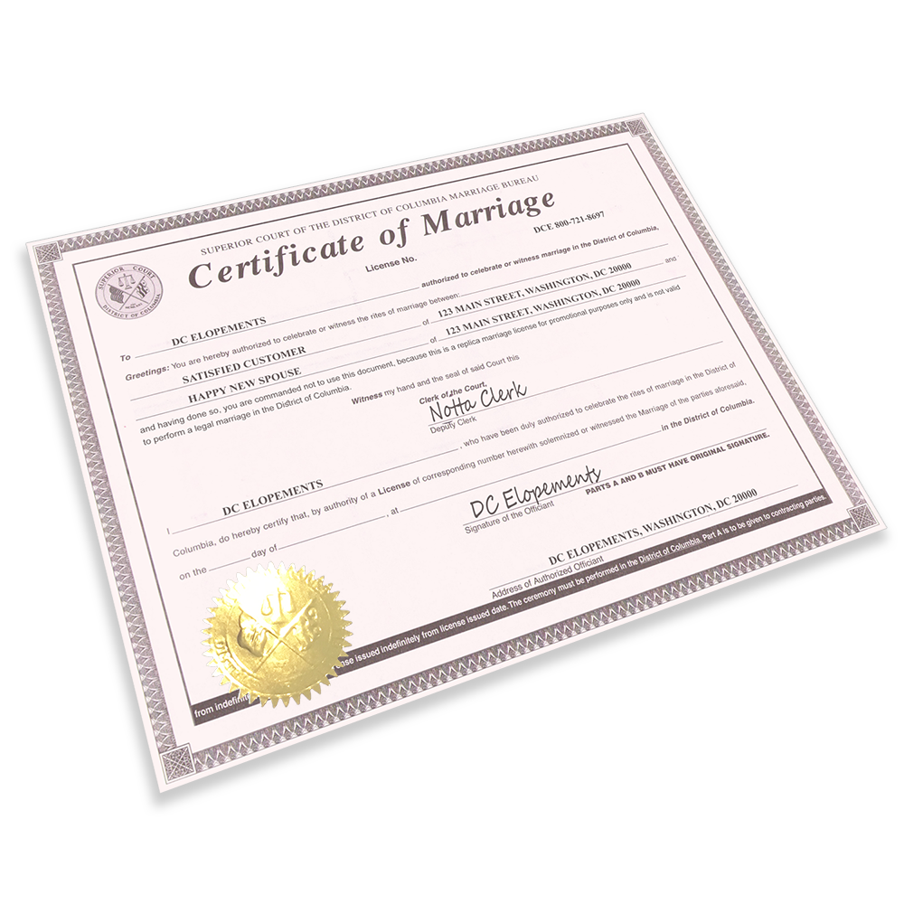 Washington DC Marriage License