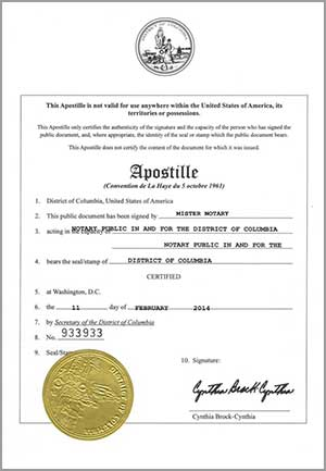 DC Marriage License Apostille Certification